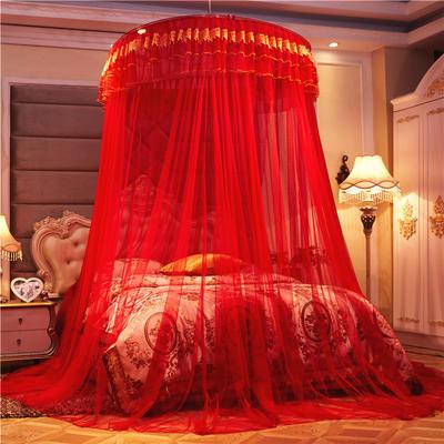 2020新款圆顶吊顶蚊帐—刺绣款-大红 1.0m(3.3英尺)床 大红