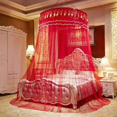 2020新款圆顶吊顶蚊帐—锦绣玫瑰-大红 1.0m(3.3英尺)床 大红