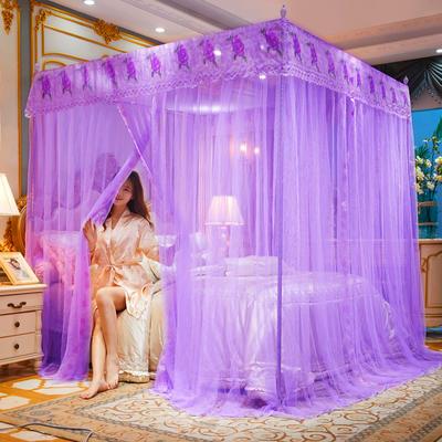 2021新款三开门加密落地宫廷蚊帐-全年有货-富贵花开 1.5*2.0m 富贵花开-紫色  #25mm