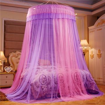 2021新款直径1.2米/吊挂圆顶吊顶落地蚊帐-常年有货-拼色粉紫