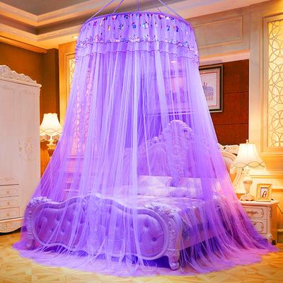 2021新款直径1米/吊挂圆顶吊顶落地蚊帐-常年有货-七彩曼舞 1.0m 七彩曼舞-紫色