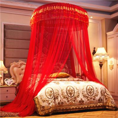 2021新款欧式宫廷吊顶蚊帐—刺绣款-大红 1.2m 刺绣款-大红