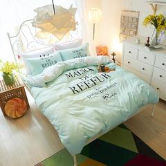网红款棉加绒四件套系列 标准1.5-1.8m床 梨花-水绿