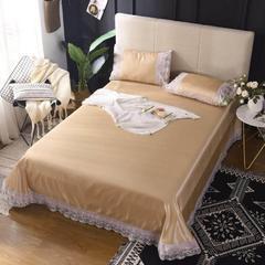 柒月家居 蕾丝床单式冰丝软席 250*265cm 灿-金黄