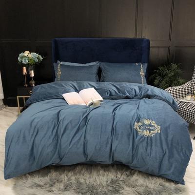 2019新款臻丝绒四件套 1.5m床单款 英伦风范-蓝
