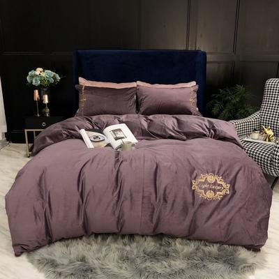 2019新款臻丝绒四件套 1.5m床单款 英伦风范-紫