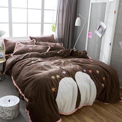 澳梵-绣花宝宝绒四件套 标准(1.5m-1.8m床) 晚安-咖啡