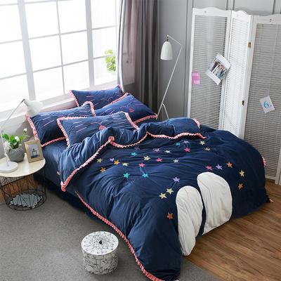 澳梵-绣花宝宝绒四件套 标准(1.5m-1.8m床) 晚安-深蓝