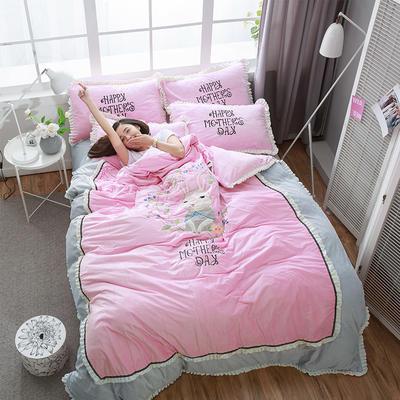 绣花宝宝绒四件套(床单款/床笠款) 床单款 标准(1.5m-1.8m床) 浪漫花意-粉
