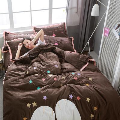 绣花宝宝绒四件套(床单款/床笠款) 床单款 标准(1.5m-1.8m床) 晚安-咖啡