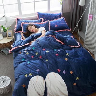 绣花宝宝绒四件套(床单款/床笠款) 床单款 标准(1.5m-1.8m床) 晚安-深蓝
