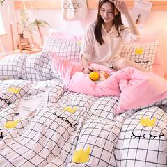 2018新款-保暖水洗棉宝宝绒毛巾绣四件套 2.0m(6.6英尺)床 睫毛弯弯