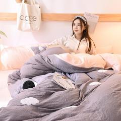 2018新款-保暖水洗棉宝宝绒毛巾绣四件套 三件套1.2m(4英尺)床 暖云