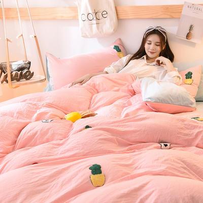 2018新款-保暖水洗棉寶寶絨毛巾繡四件套 三件套1.2m(4英尺)床 小園丁