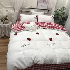 2018新款澳梵-保暖水洗棉毛巾绣宝宝绒四件套实拍图 2.0m(6.6英尺)床 草莓-白
