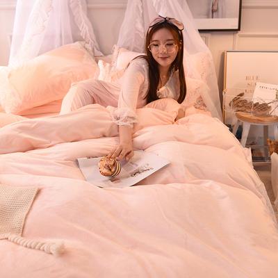 2018新款-2018宝宝绒【蕾丝花边】系列四件套(棚拍图) 1.8m(6英尺)床 优妮-玉