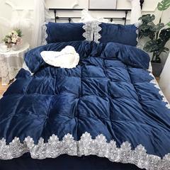 2018新款-宝宝绒【蕾丝花边】系列四件套实拍图 1.5m(5英尺)床 艾薇拉-深蓝