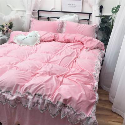 2018新款-宝宝绒【蕾丝花边】系列四件套实拍图 1.5m(5英尺)床 安娜花园-粉