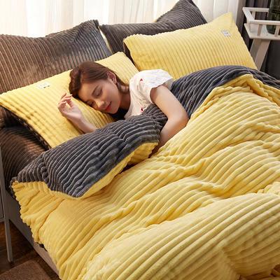 2018新款-加厚魔法绒四件套 1.8m(6英尺)床 柠檬黄