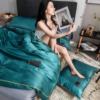 水洗真丝全棉四件套 床笠款1.8m(6英尺)床 孔雀绿
