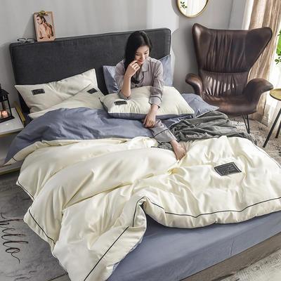 水洗真丝全棉四件套 1.8m(6英尺)床 米白-1