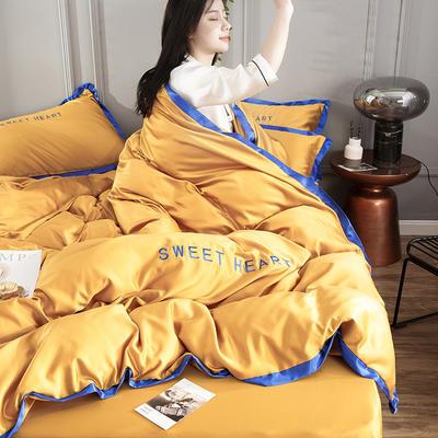 2019网红刺绣水洗真丝四件套 1.2米床 日月黄