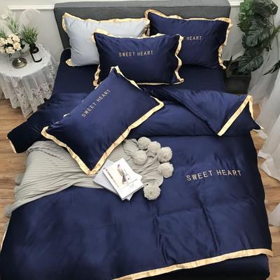 2019新款-网红刺绣水洗真丝四件实拍套(实拍) 床笠款1.2m(4英尺)床 钻石蓝