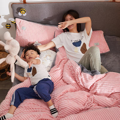 2020新款-双面保暖加厚魔法绒四件套 床单款四件套1.5m(5英尺)床 粉爱你