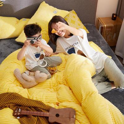 2019新款-双面保暖加厚魔法绒四件套 床单款三件套1.2m(4英尺)床 柠檬黄