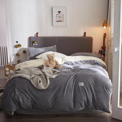 2018新款-加厚魔法绒新白小姐祺袍(模特图) 三件套1.2m(4英尺)床 石墨灰