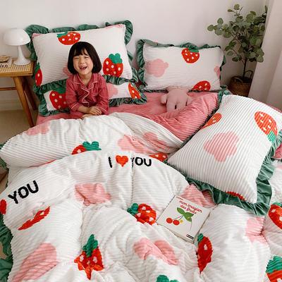 【2019爆款】双面魔法绒印花韩版四件套小清新法莱绒牛奶绒 床单款三件套1.2m(4英尺)床 草莓甜心