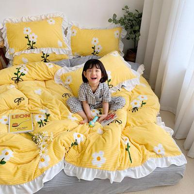 2020新款-双面魔法绒印花韩版四件套小清新法莱绒牛奶绒(小模特图) 床单款四件套1.5m(5英尺)床 雏菊之恋