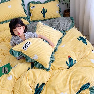 2019新款-双面魔法绒印花韩版四件套小清新法莱绒牛奶绒(小模特图) 床单款四件套1.8m(6英尺)床 仙人掌