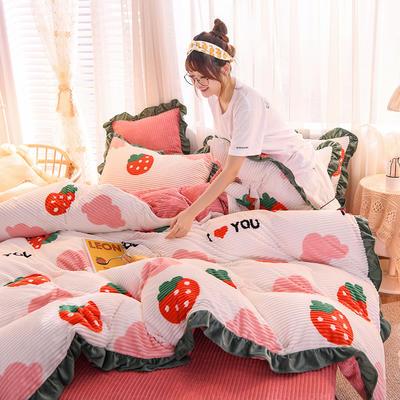2019新款-魔法绒印花双面韩版四件套(大模特图) 床单款四件套1.5m(5英尺)床 草莓甜心