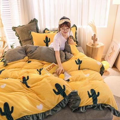 2019新款-魔法绒印花双面韩版四件套(大模特图) 床单款三件套1.2m(4英尺)床 仙人掌