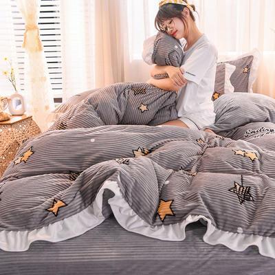 2019新款-魔法绒印花双面韩版四件套(大模特图) 床单款三件套1.2m(4英尺)床 许愿精灵