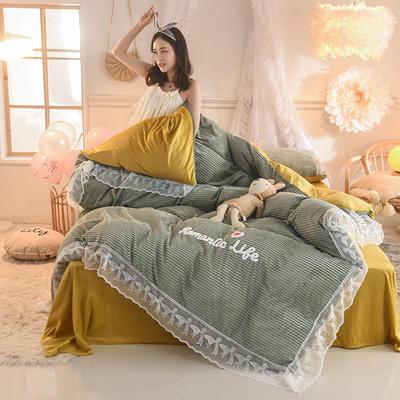 2019新款-加厚魔法絨毛巾繡花邊四件套 床單款1.5m(5英尺)床 冬日戀人-草綠