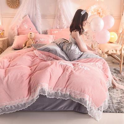 2019新款-加厚魔法绒毛巾绣花边四件套 床单款1.8m(6英尺)床 冬日恋人-玉色