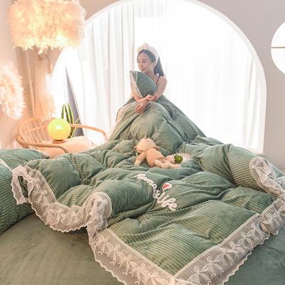 2019新款-加厚魔法绒毛巾绣花边四件套 床单款1.8m(6英尺)床 冬日恋人-青绿
