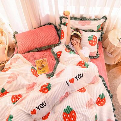 2019新款-魔法绒印花双面韩版四件套(大模特图) 床单款三件套1.2m(4英尺)床 草莓甜心