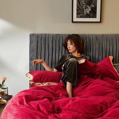 2020新款-魔暖绒纯色刺绣宽边法莱绒水晶绒四件套 床单款1.5m(5英尺)床 爱尔兰