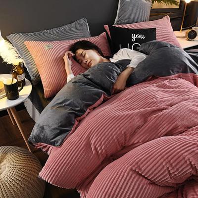 2019新款-加厚单面魔法绒水晶绒四件套 床单款四件套1.8m(6英尺)床 7棕红灰