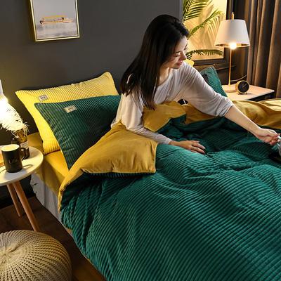 2019新款-加厚单面魔法绒水晶绒四件套 床单款三件套1.2m(4英尺)床 10松绿黄