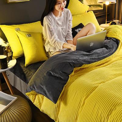 2019新款-加厚单面魔法绒水晶绒新白小姐祺袍 床单款三件套1.2m(4英尺)床 14梨黄灰