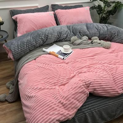 2018新款-加厚魔法绒四件套(实拍图) 三件套1.2m(4英尺)床 粉爱你