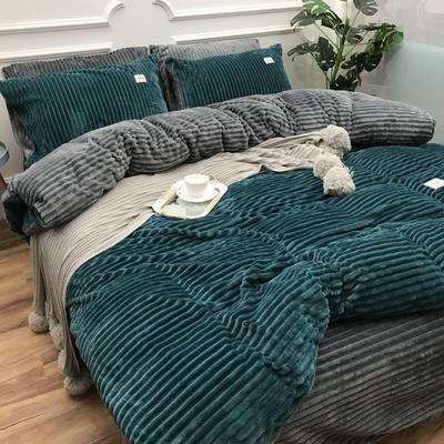 2018新款-加厚魔法绒四件套(实拍图) 床笠款四件套1.8m(6英尺)床 绿松石
