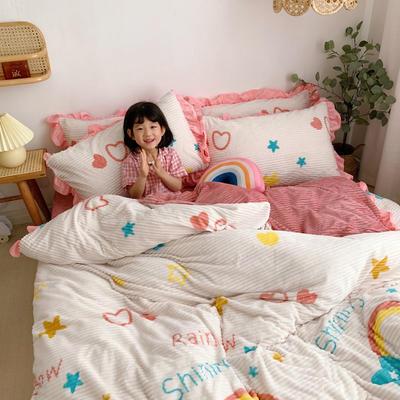 2020新款-魔法绒印花双面韩版四件套(小模特图) 床单款四件套1.5m(5英尺)床 彩虹
