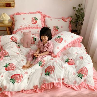 2019新款-双面魔法绒印花韩版新白小姐祺袍小清新法莱绒牛奶绒(小模特图) 床单款三件套1.2m(4英尺)床 元气波点