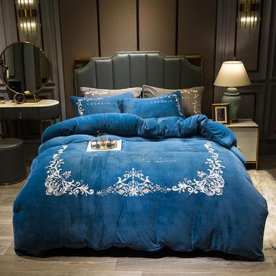 2019新款-欧式牛奶绒刺绣四件套 床单款1.5m(5英尺)床 爱丽丝-湖蓝