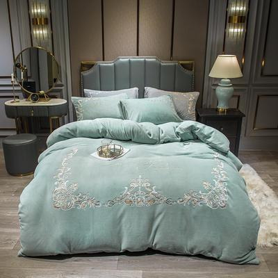 2020新款-欧式牛奶绒刺绣四件套 床单款1.5m(5英尺)床 爱丽丝-水兰